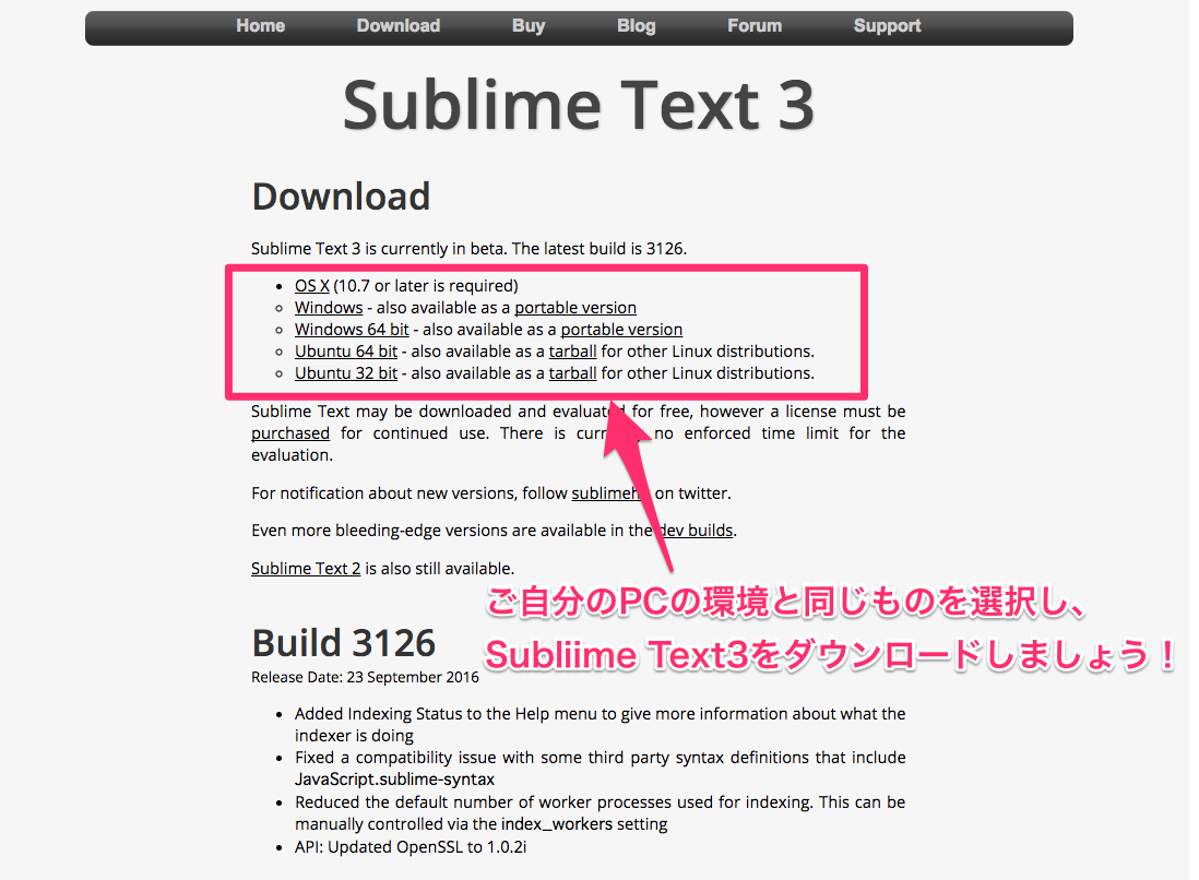 Sublime Textをダウンロードする
