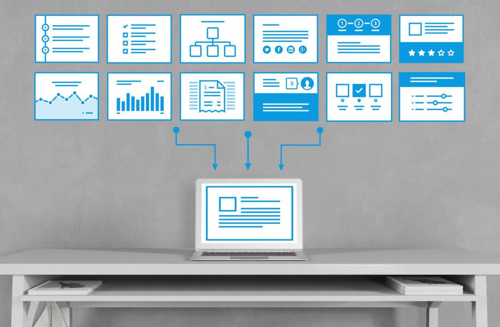 Computer mit Prozess für SEO Webdesign Template